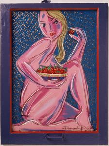 Pink Nude Eating Strawberries